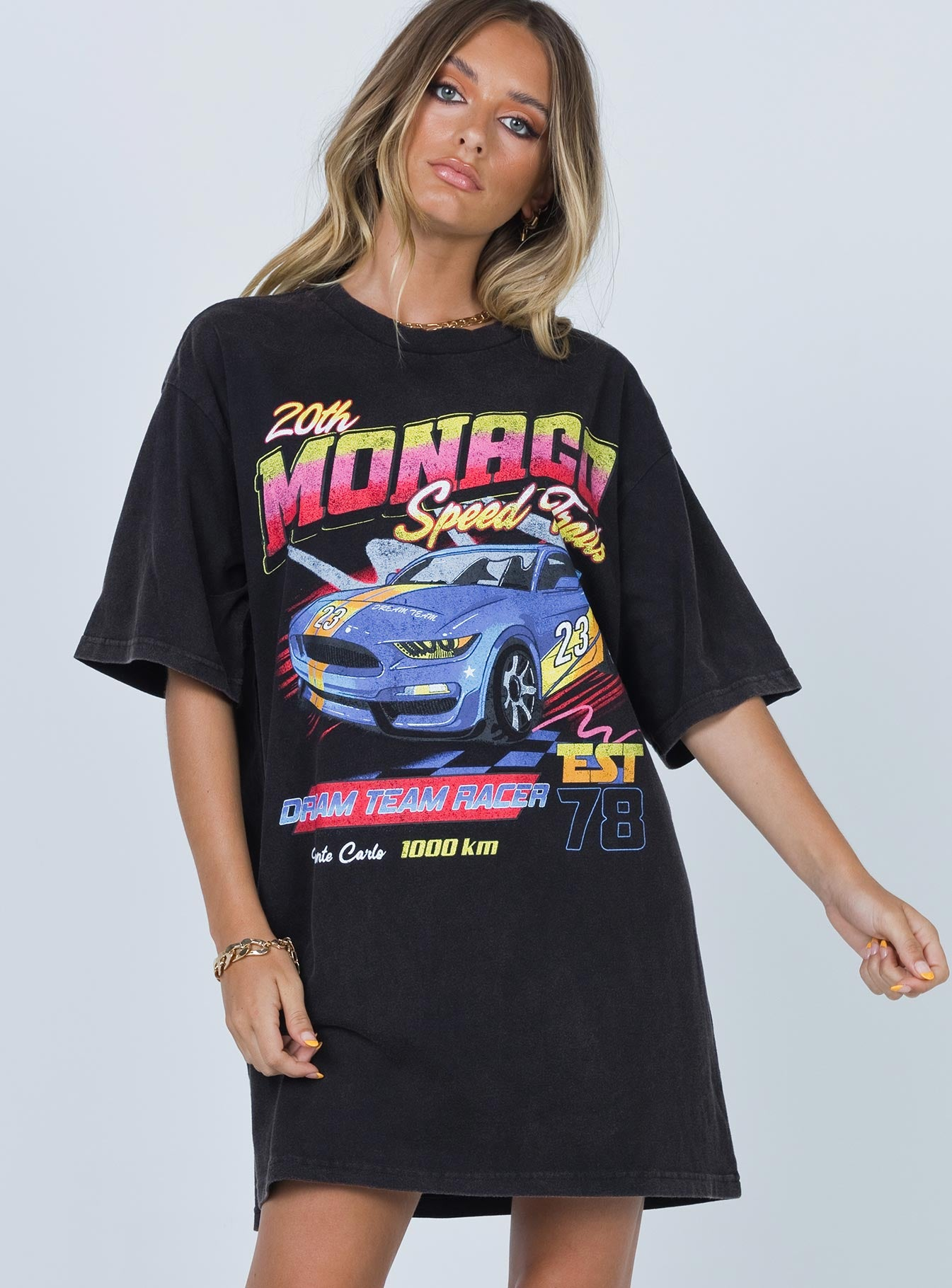 Monago Speed Racer Tee Mini Dress Black