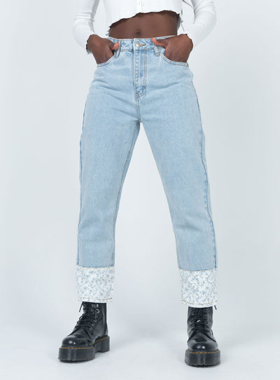Bella Mom Jean With Floral Cuffs Denim