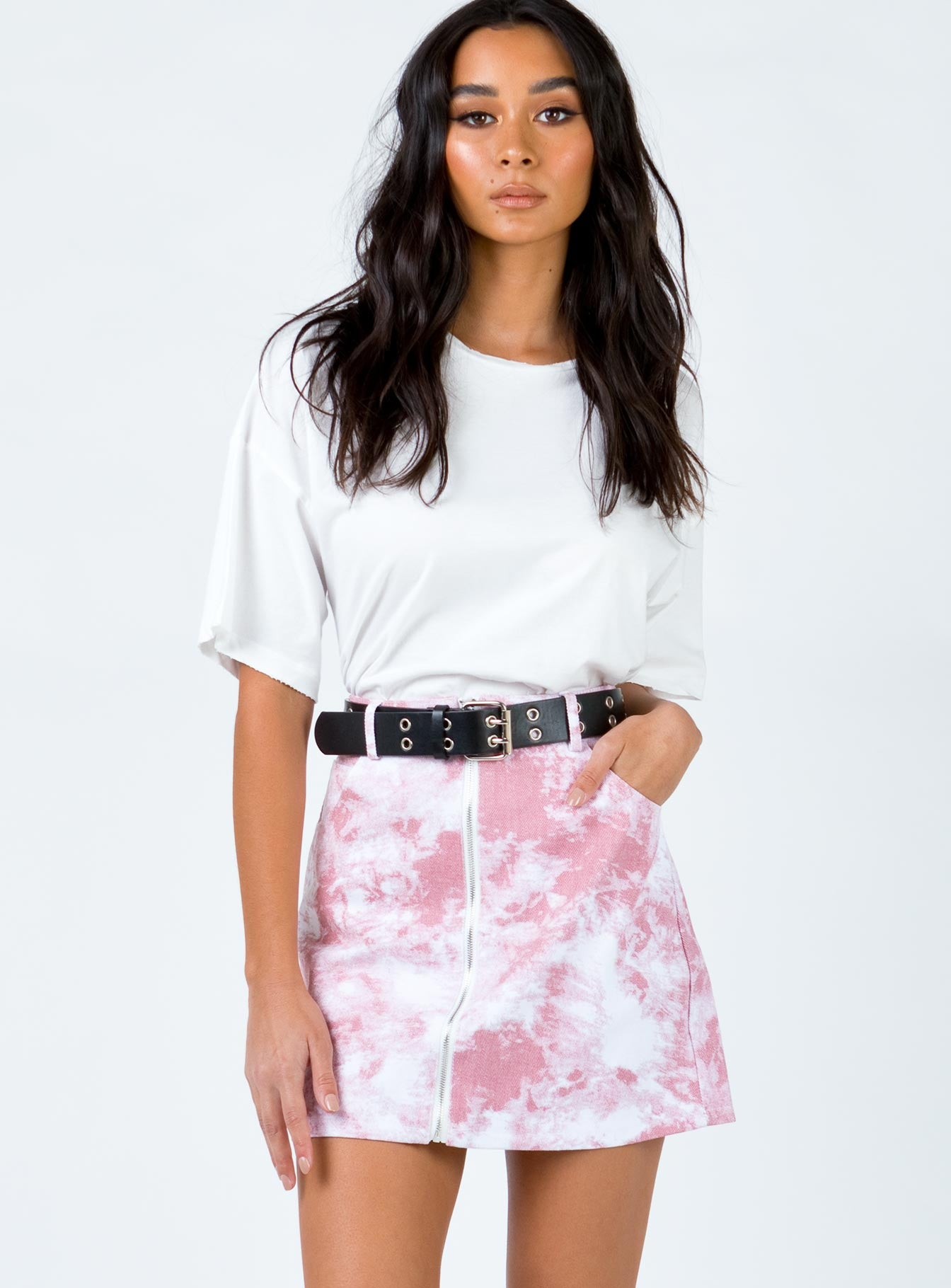 Avani Mini Skirt White/Pink