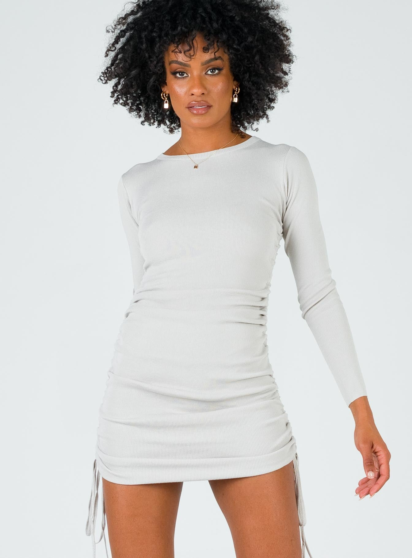 Military Minds Long Sleeve Mini Dress Grey