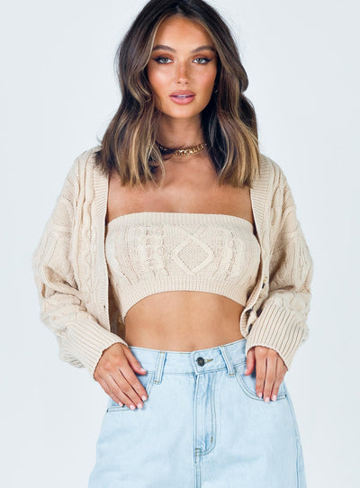 Soleil Cropped Sweater Set Beige