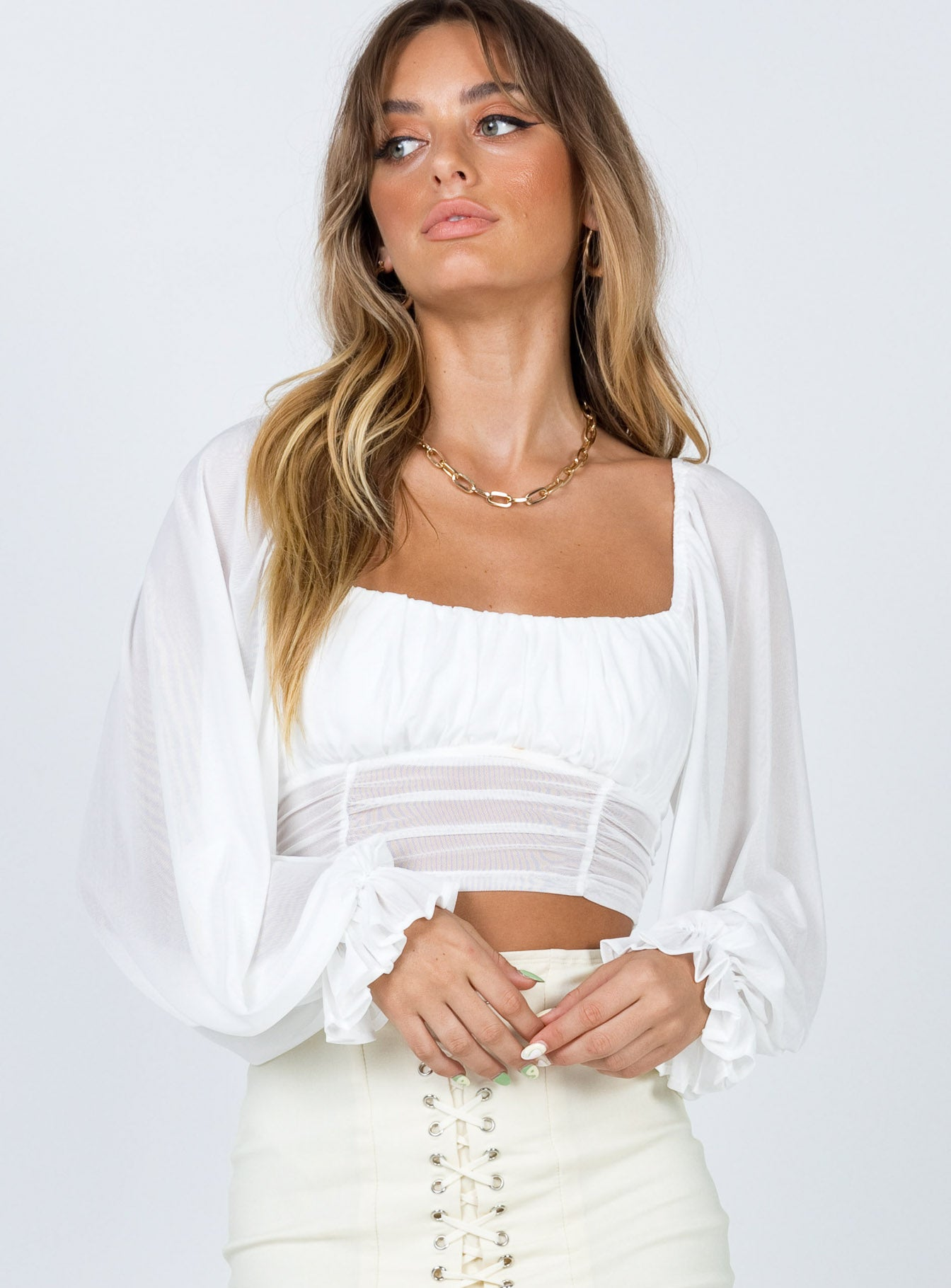 The Penny Long Sleeve Top White