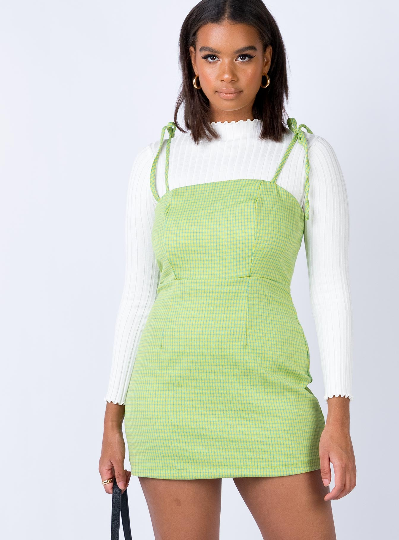 Eade Mini Dress Gingham Green