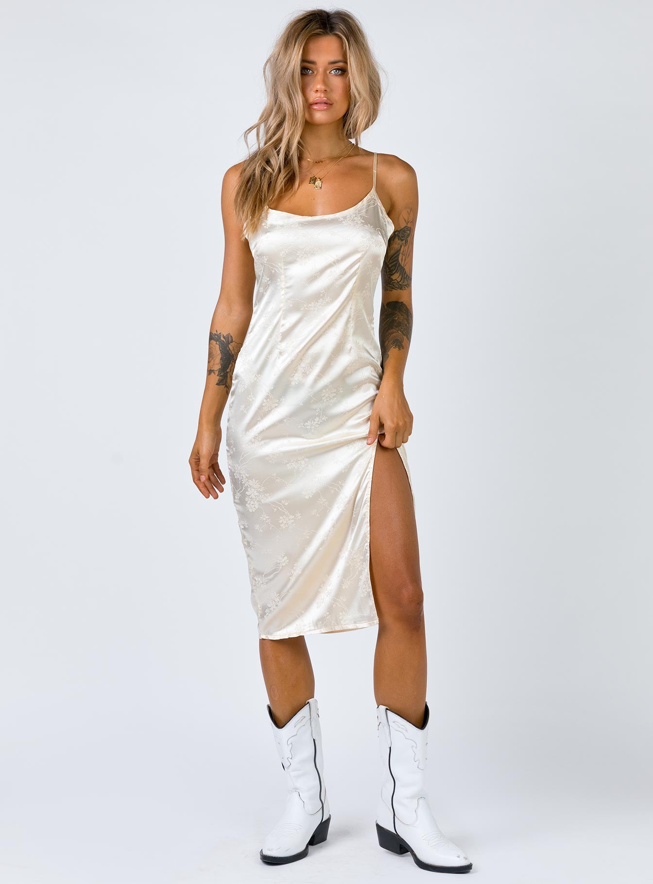 Ziva Midi Slip Dress Cream