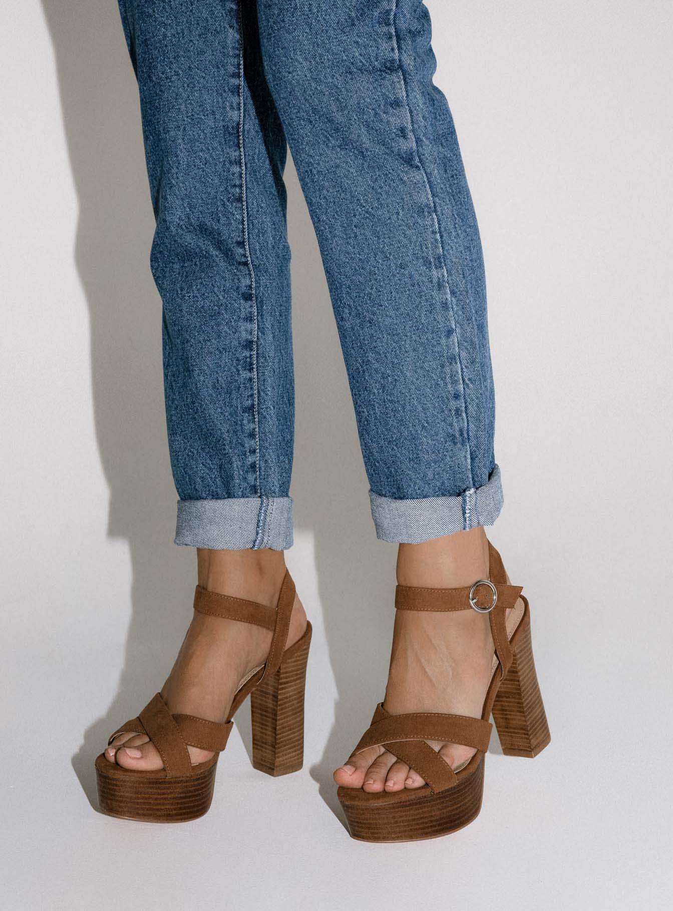 Therapy Selby Tan Faux Suede Heel