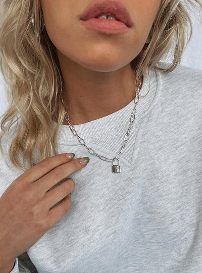 Lock Her Down Necklace Silver