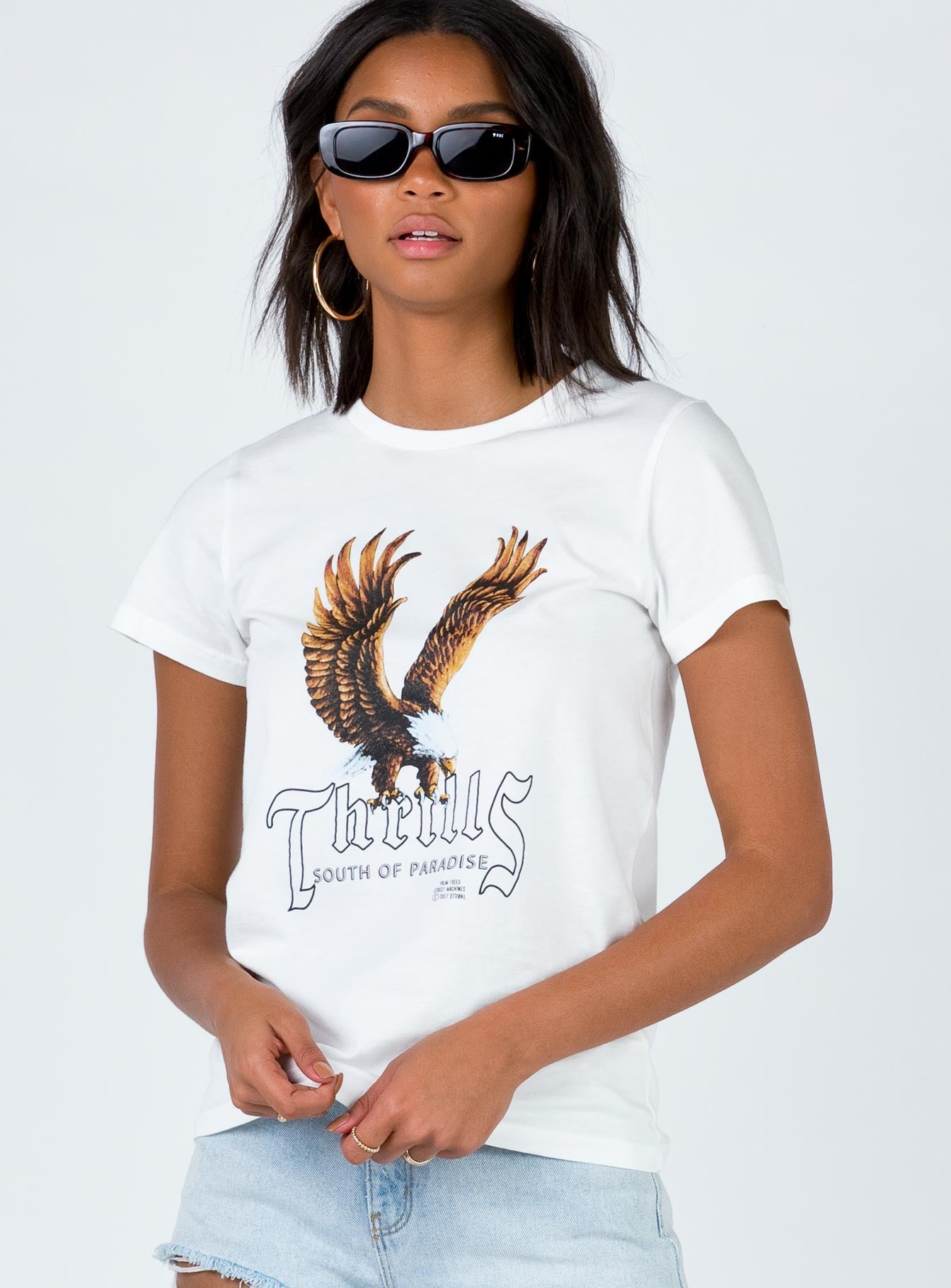 Thrills Metal Eagle Tee Dirty White