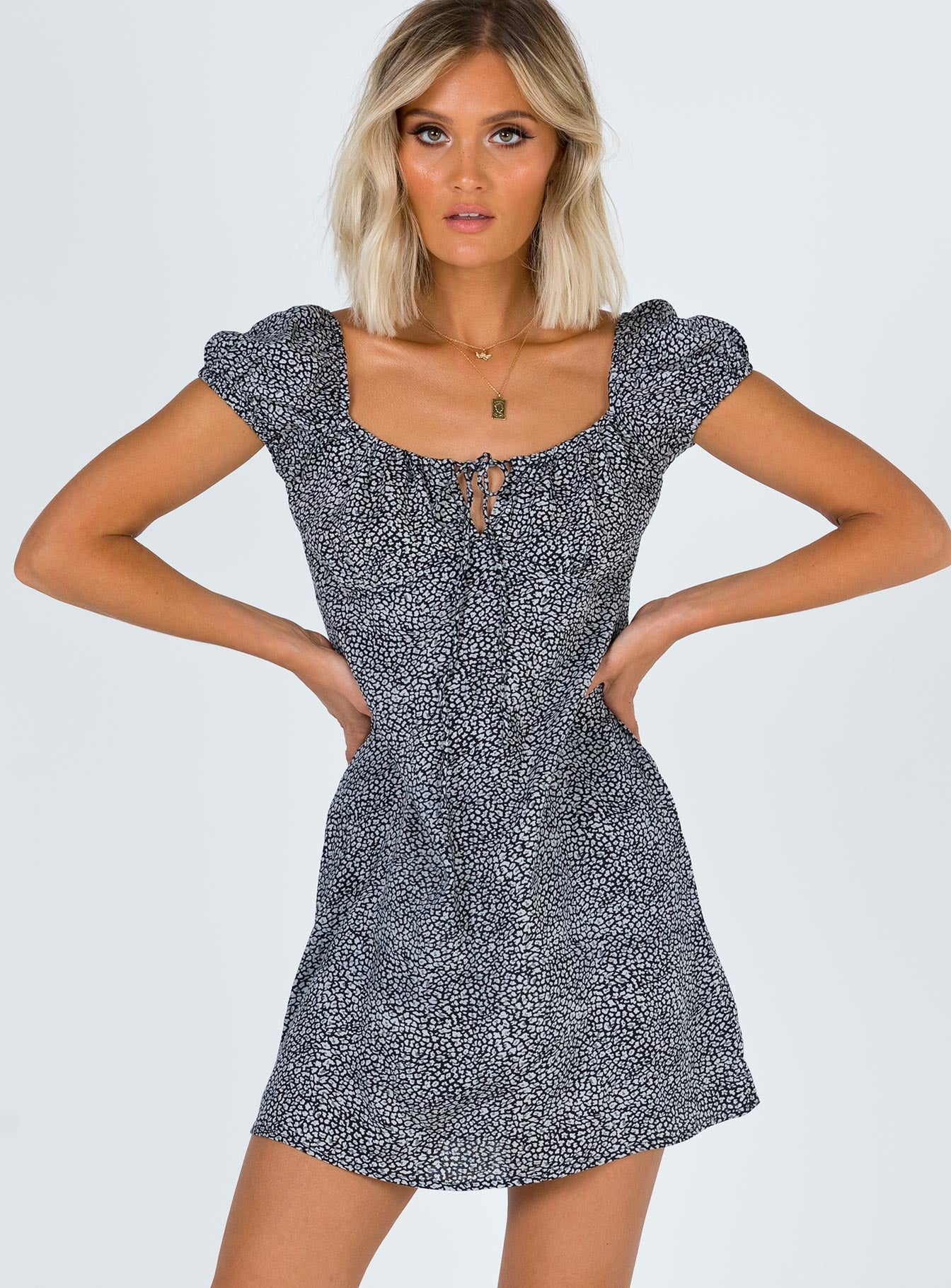 Motel Gaval Dress Disty Leopard Grey