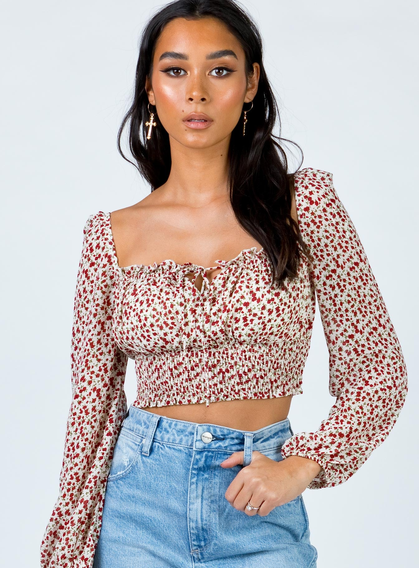 Zoya Crop Top White/Red