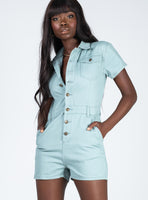 Button Front Belted Pocketed Short Cap Sleeves Romper