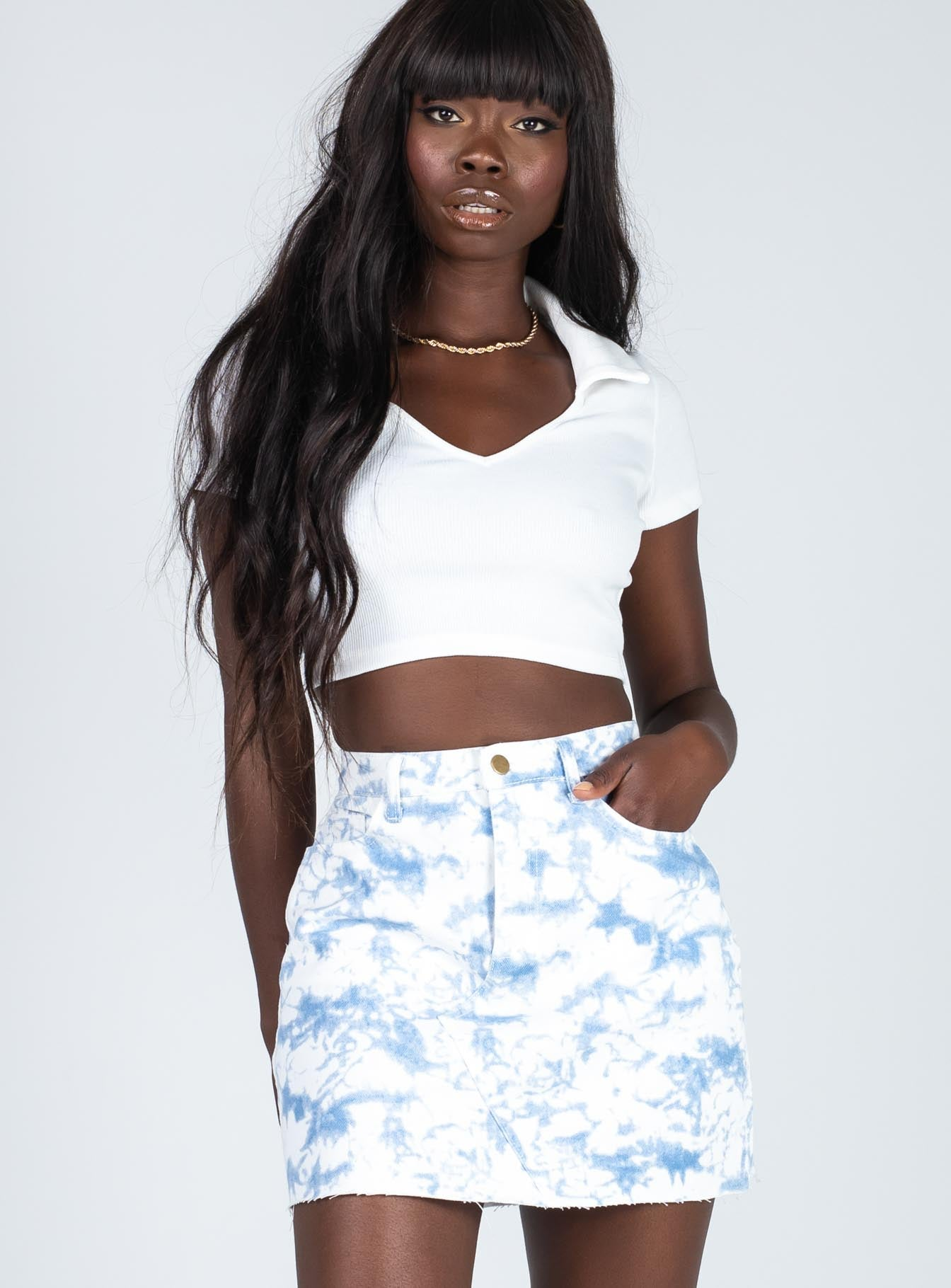 Sky High Denim Mini Skirt