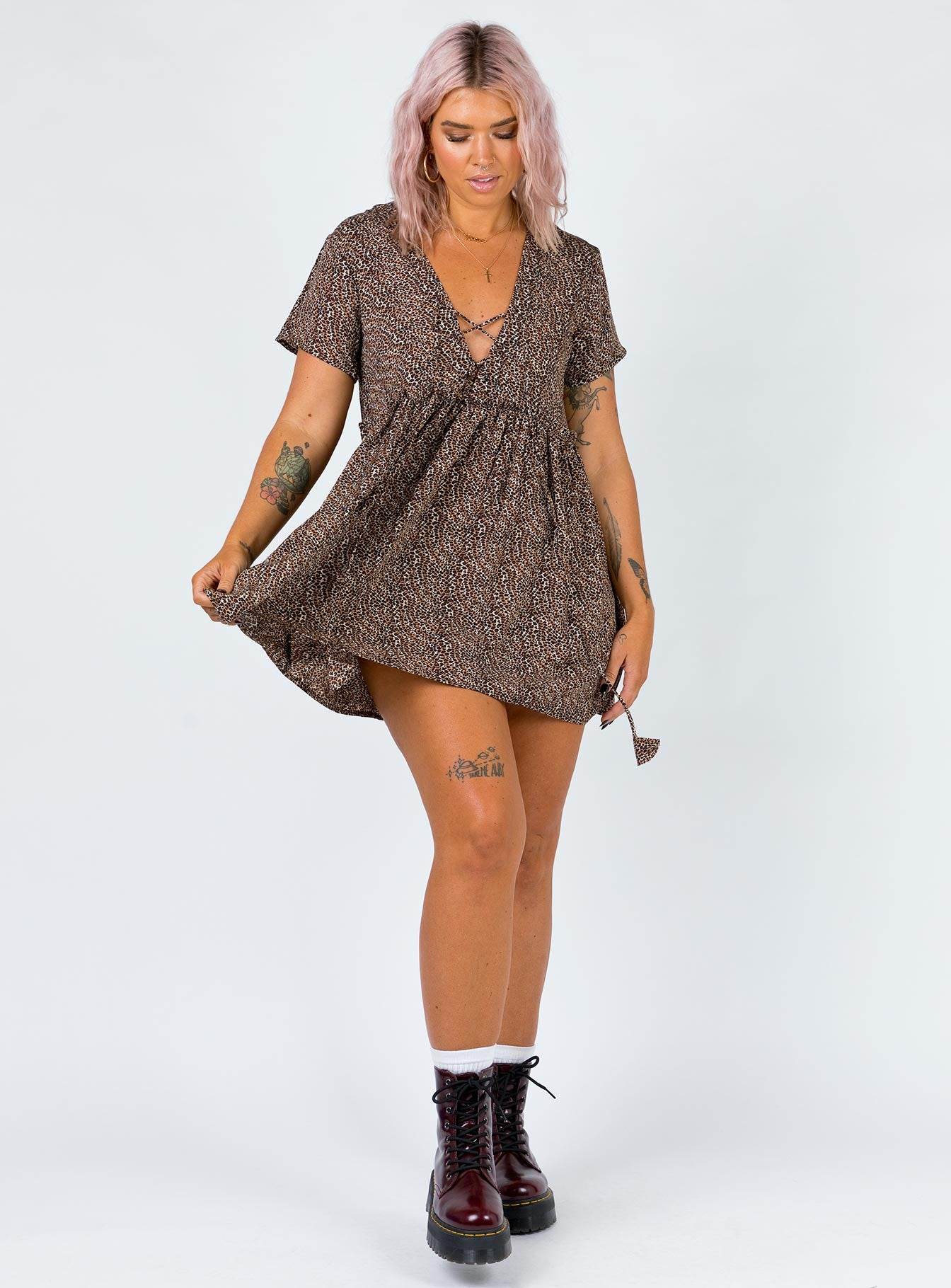 Underground Animal Mini Dress Leopard