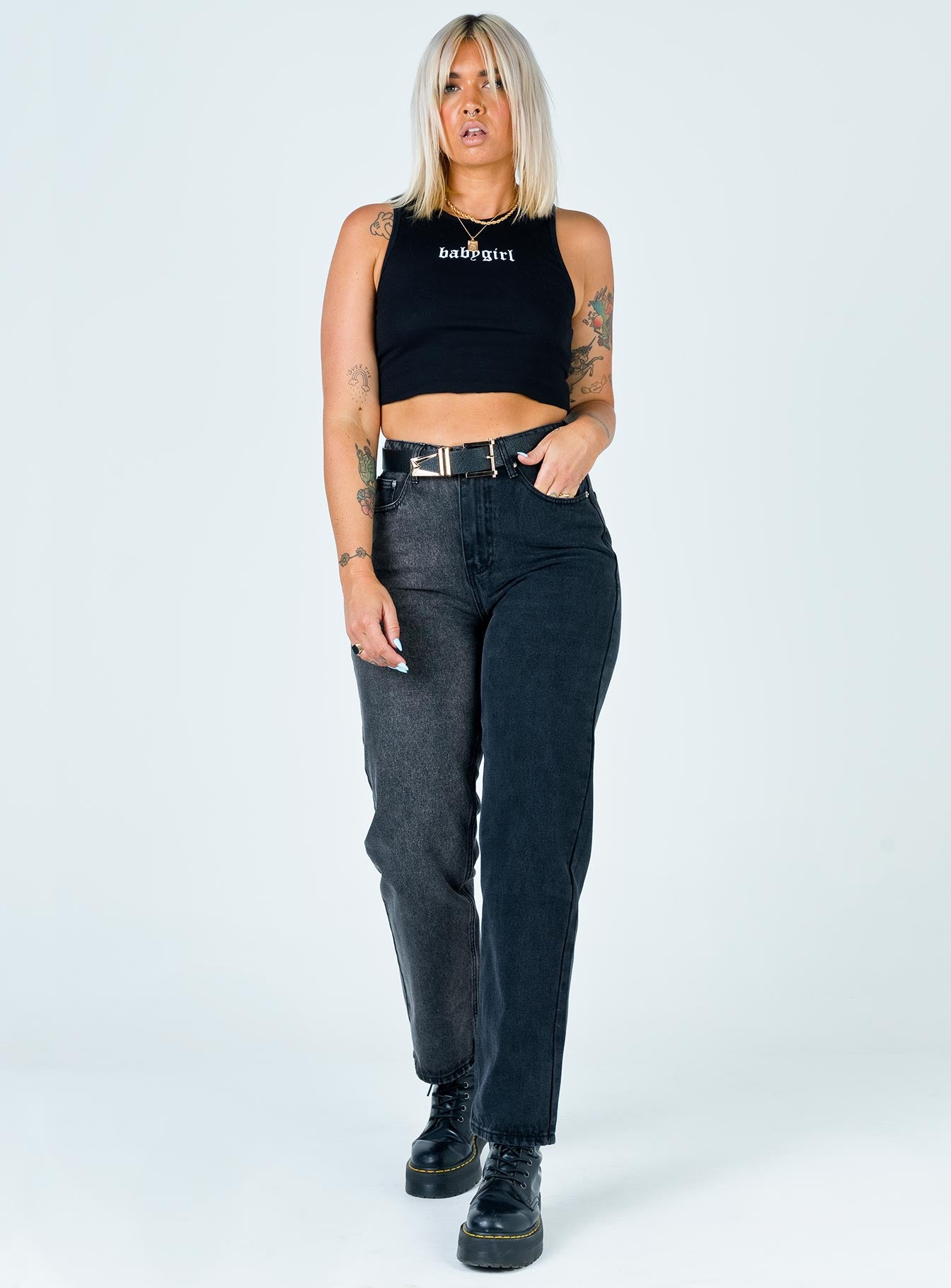 Kingston Mom Jean Washed Black Denim