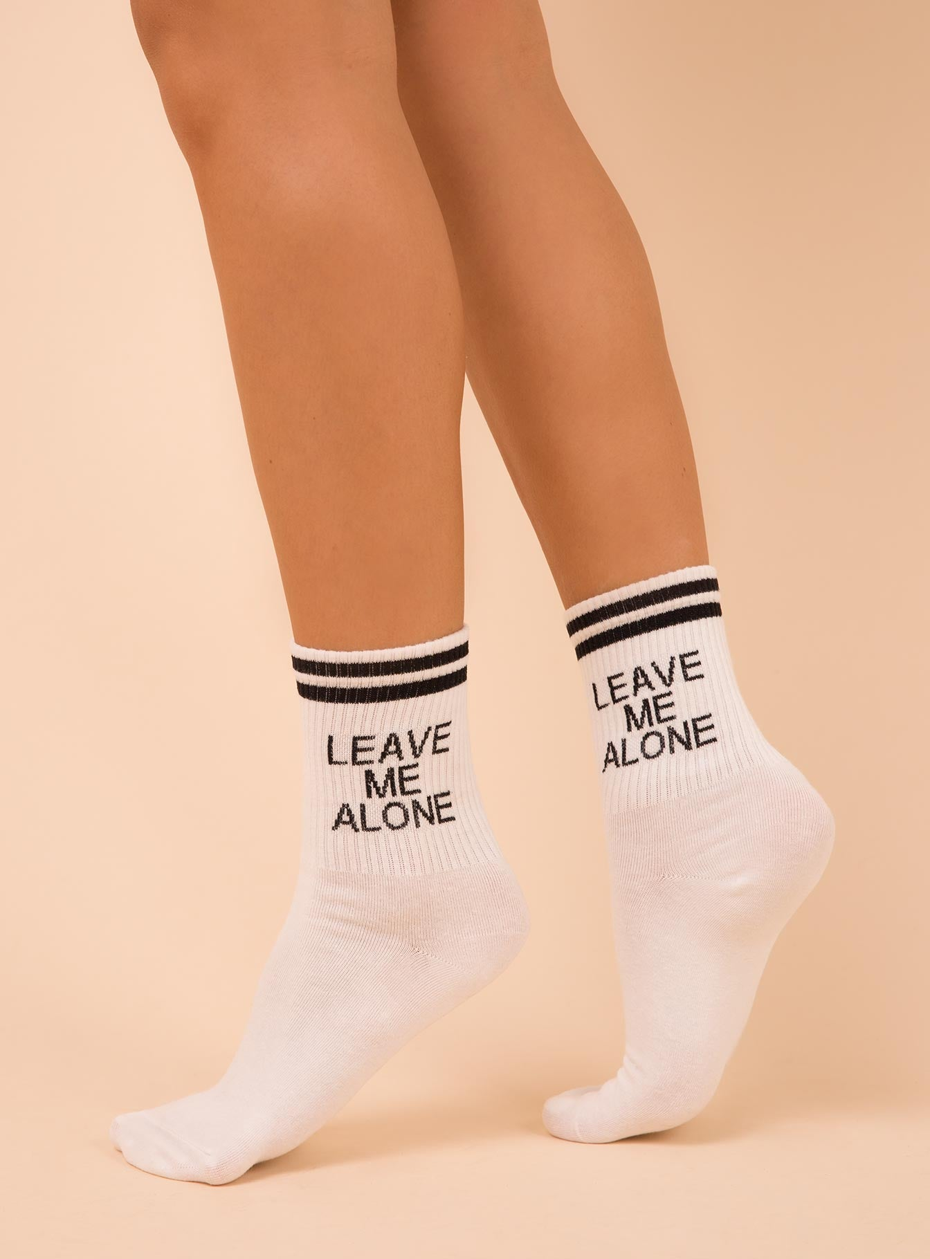 Leave Me Alone Crew Socks White