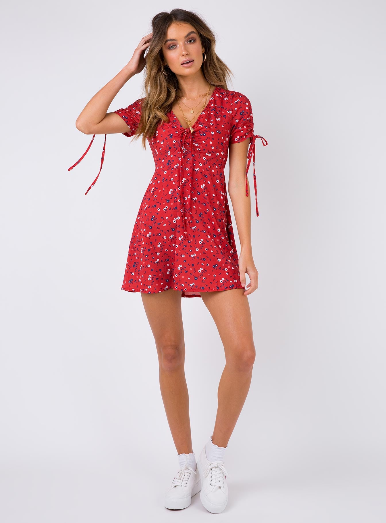 Spring Flower Mini Dress Red