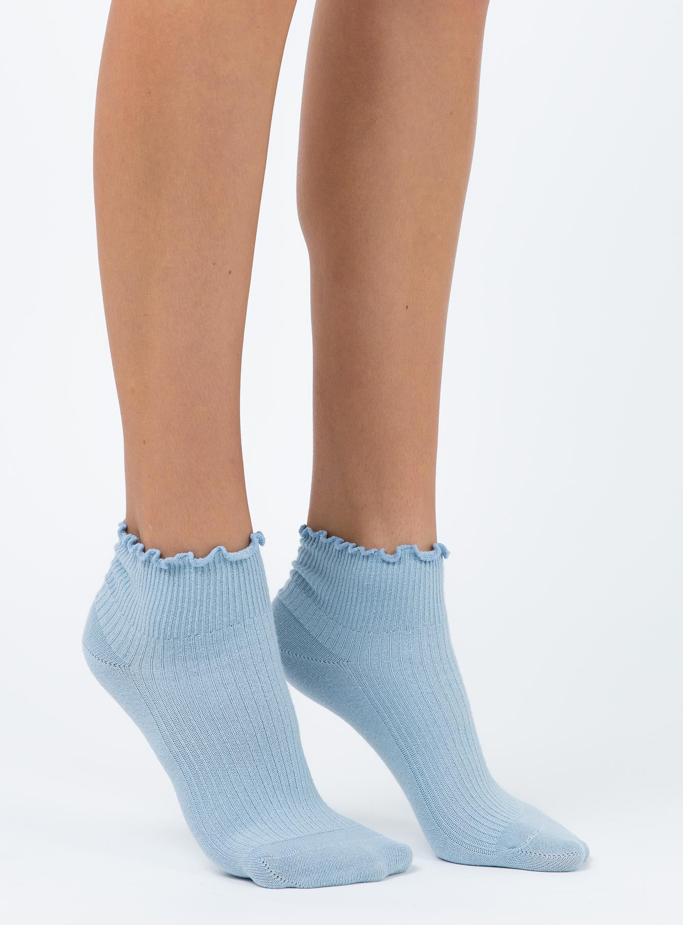 Ribbed Ruffle Socks Baby Blue