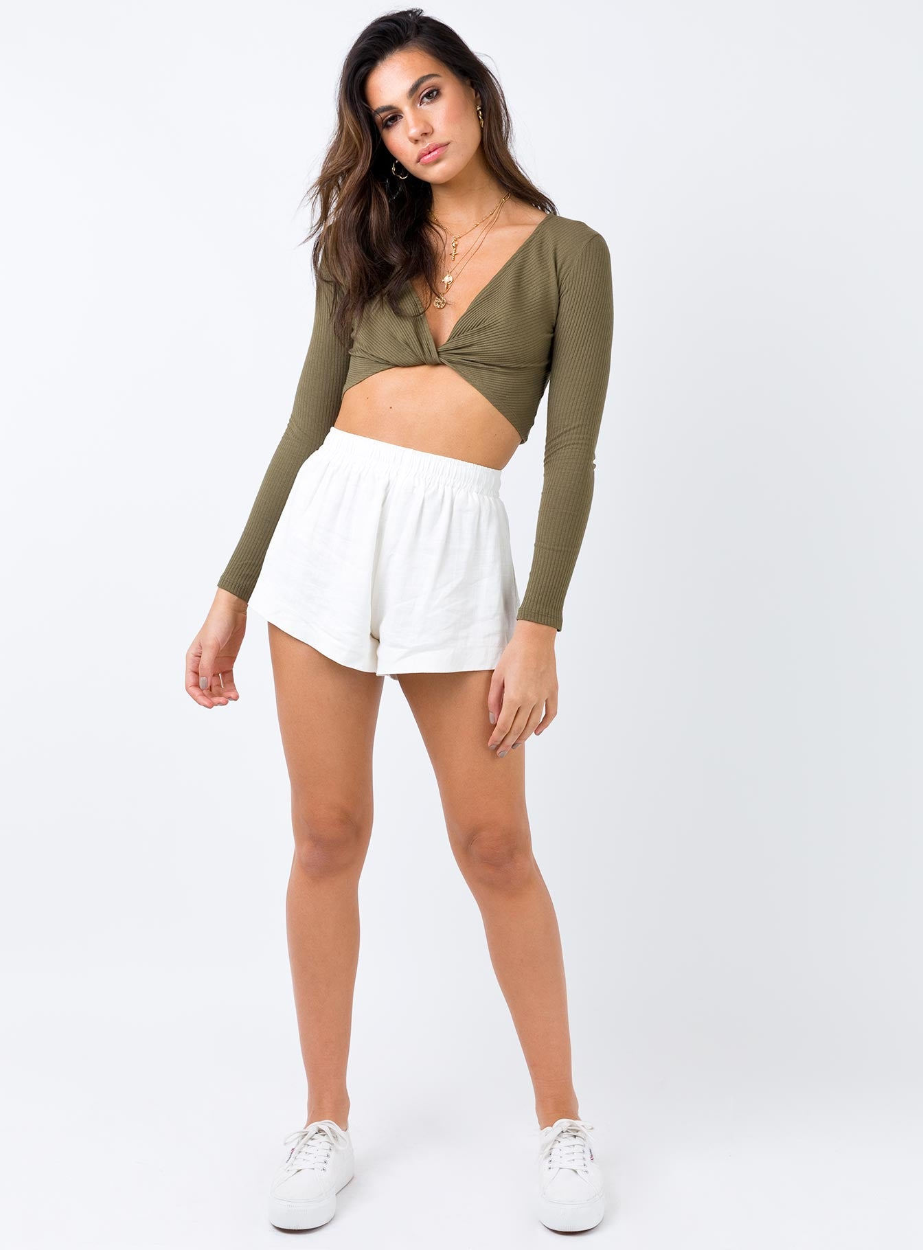 Over it Tie Front Top Khaki
