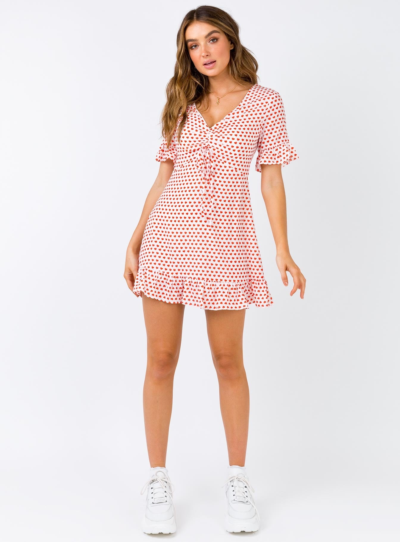 The Eris Mini Dress White/Red