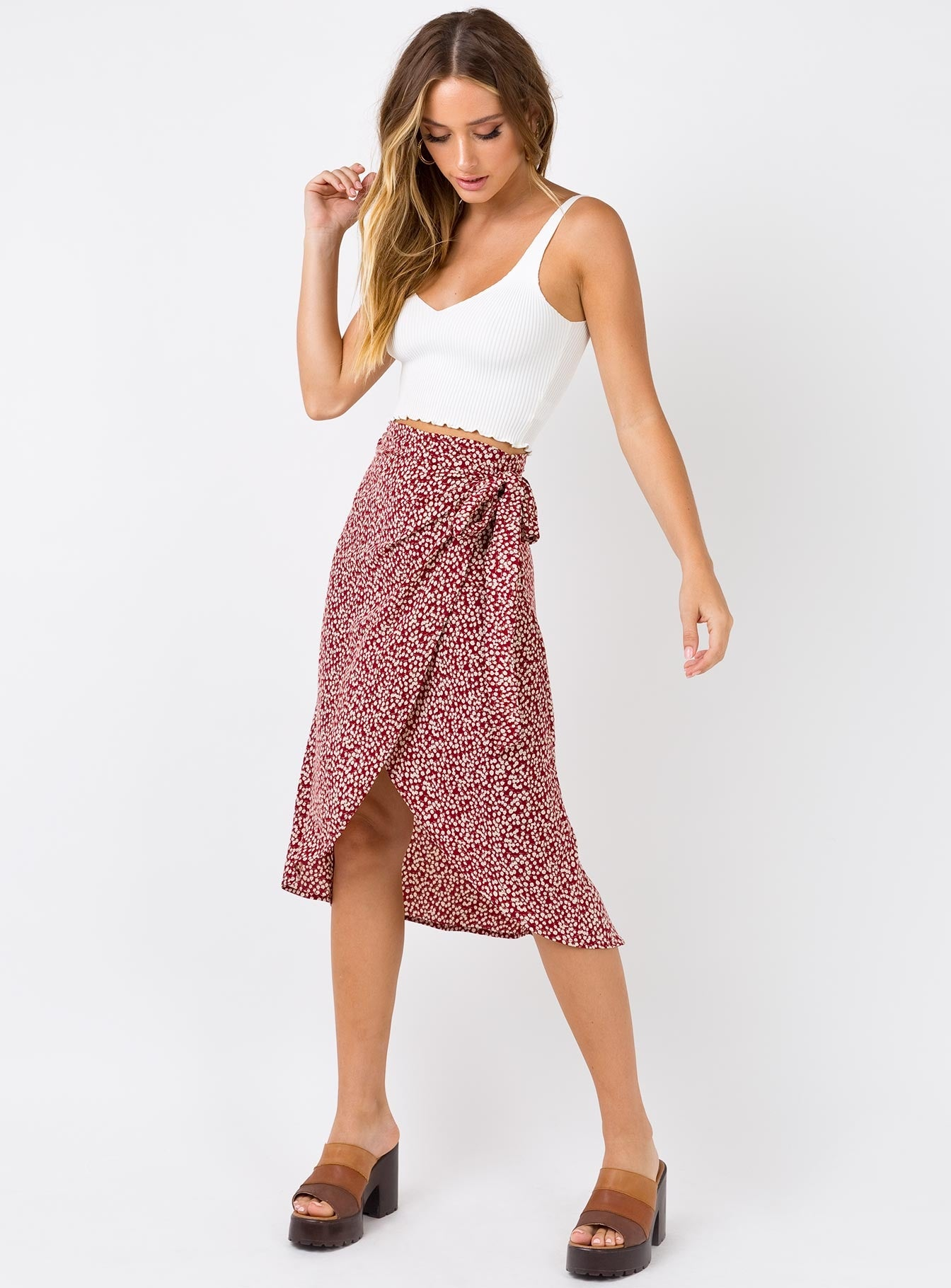 Hazey Floral Wrap Skirt Red