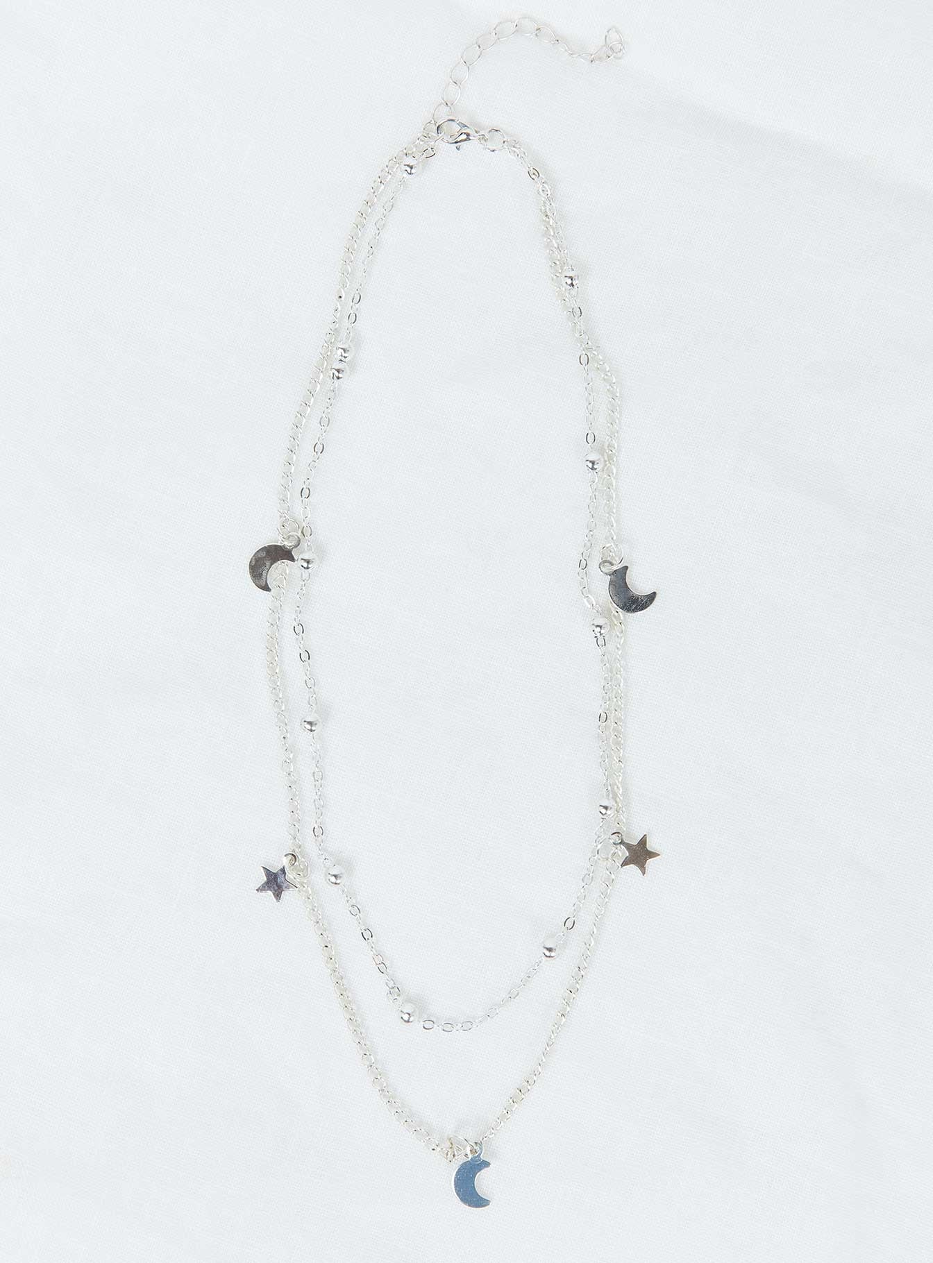 Dainty Star & Moon Necklace Silver