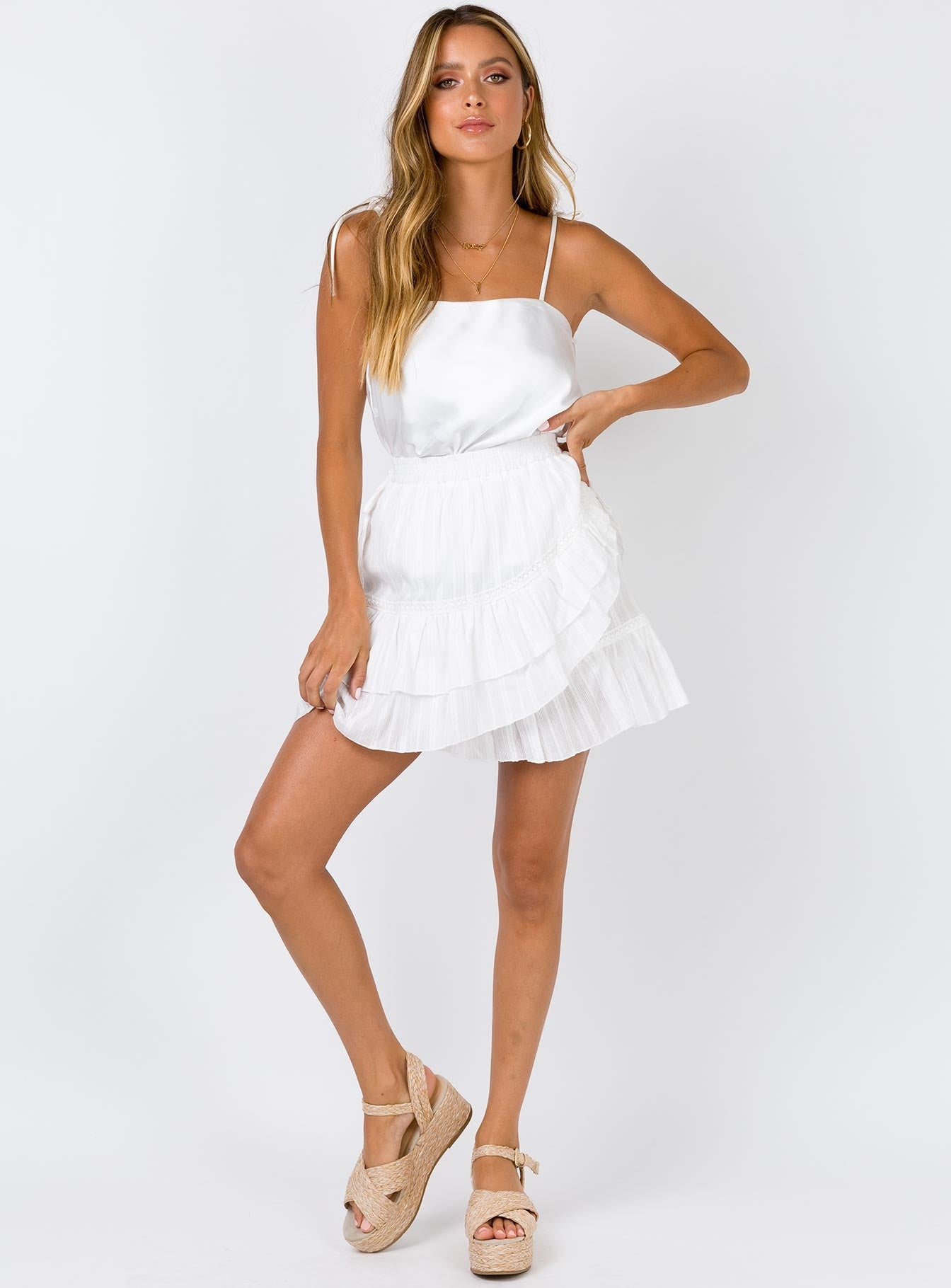 The Clem Mini Skirt White