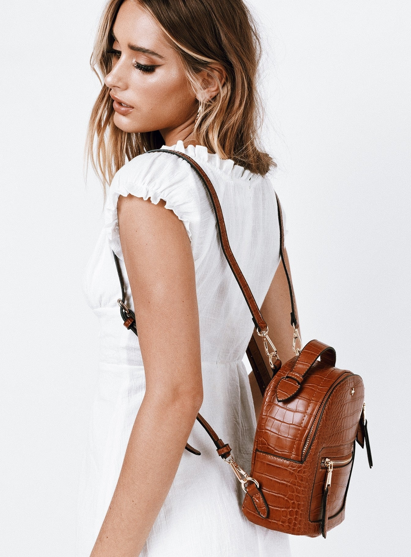 Peta & Jain Zoe Backpack Tan Croc