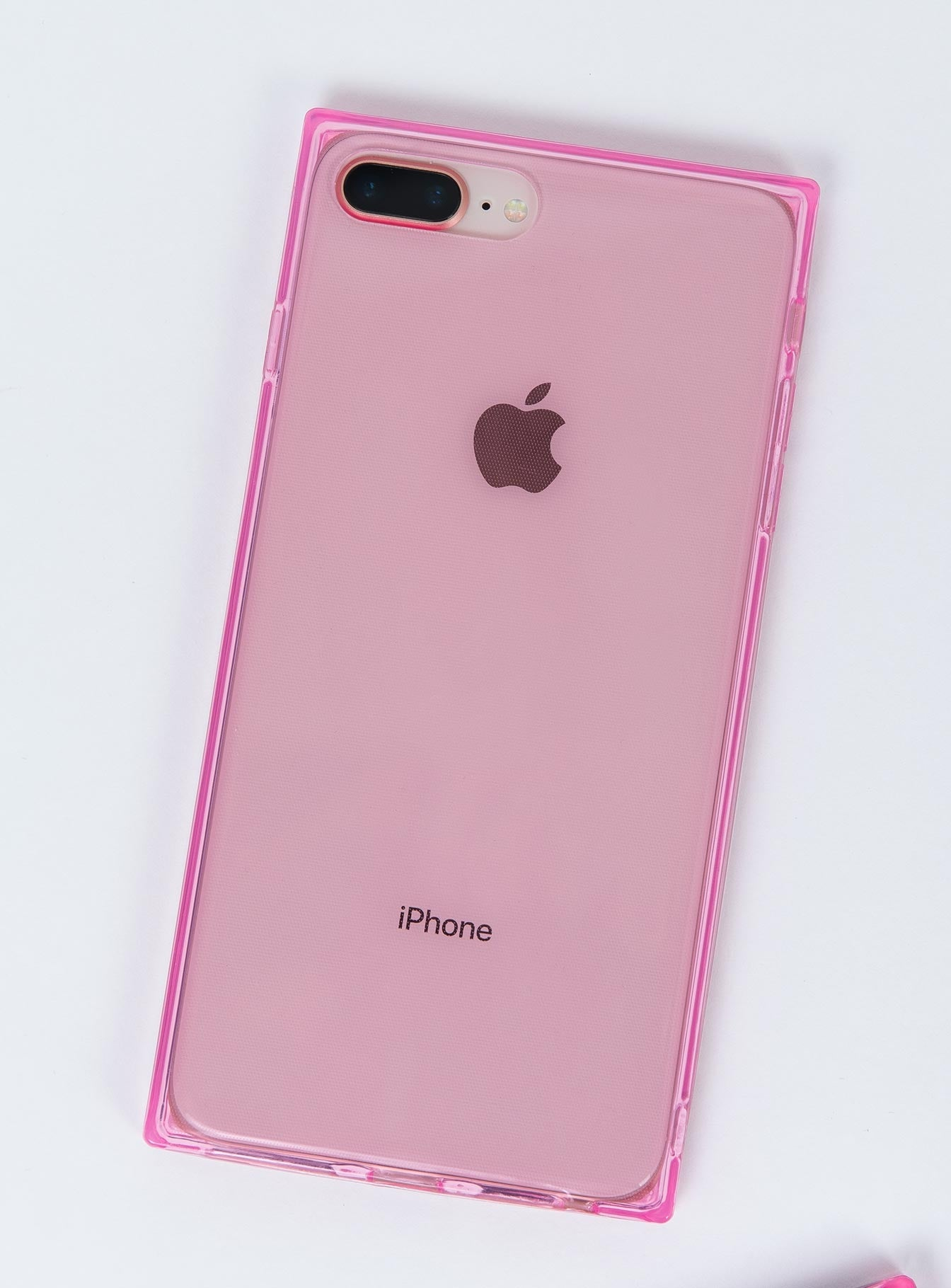 Transparent Square iPhone Case Pink