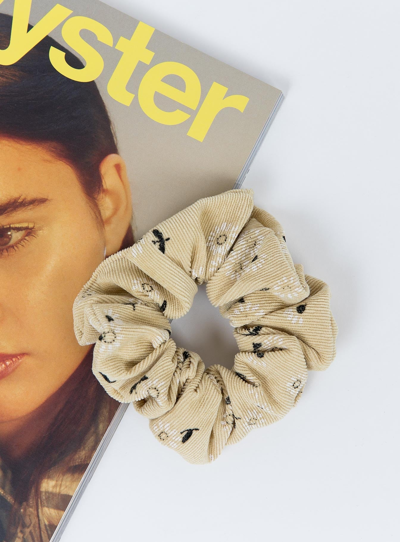 Floral Cord Scrunchie Lemon
