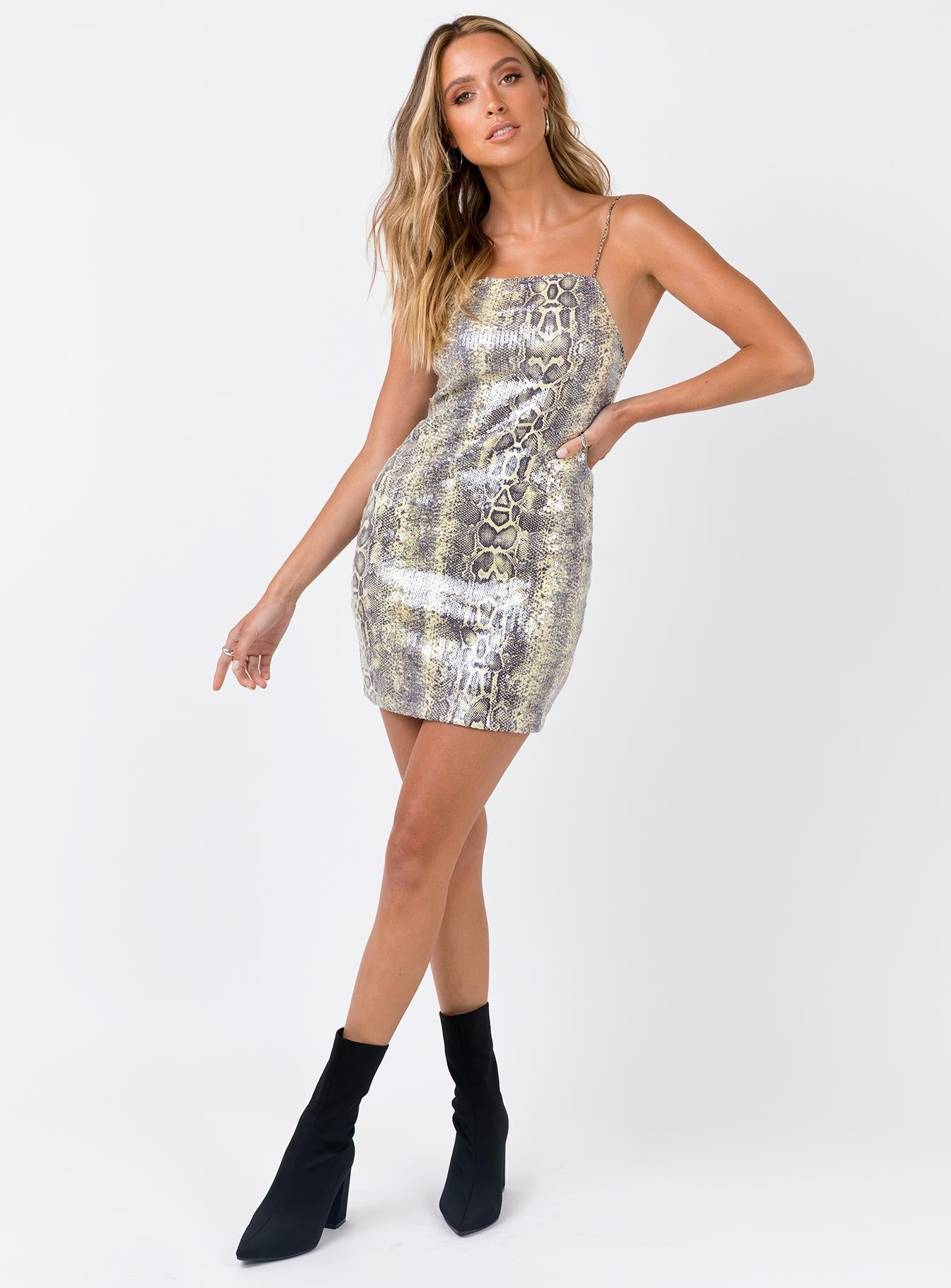 Motel Selana Dress Snake Sequin Snakeskin