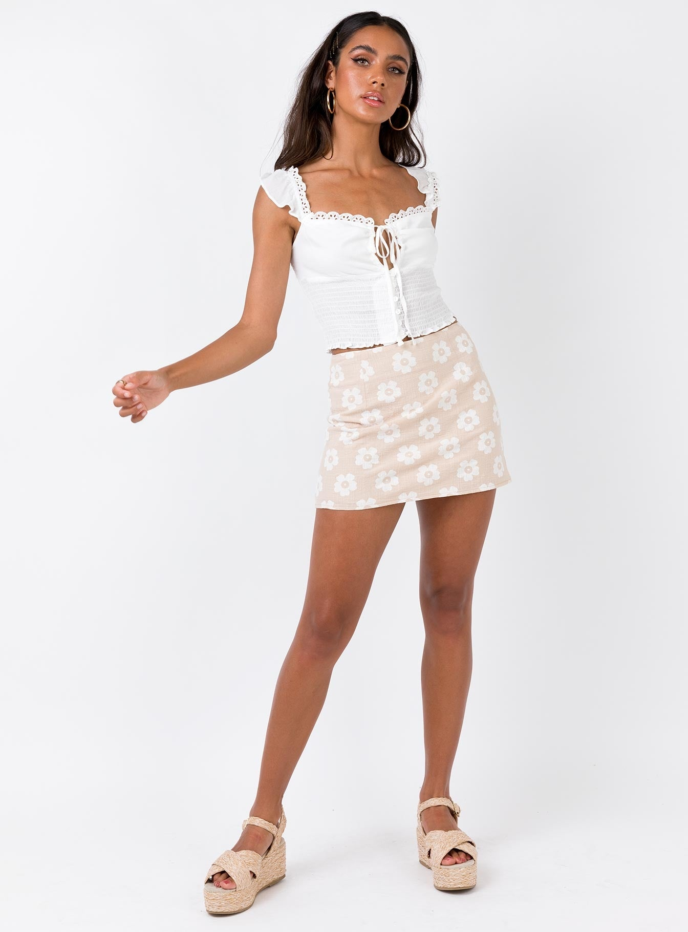 Shelly Mini Skirt Beige