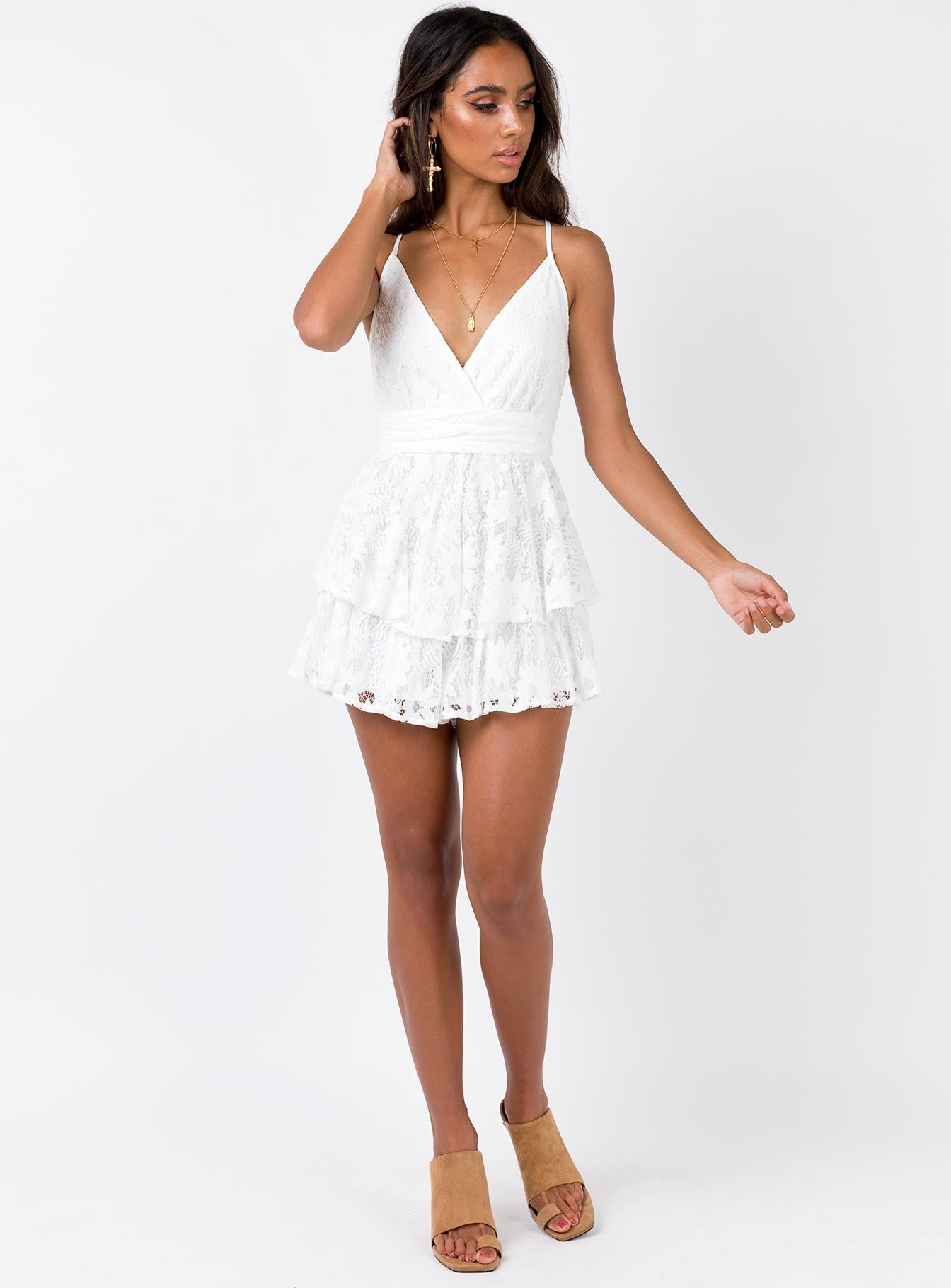 String Of Summer Playsuit White