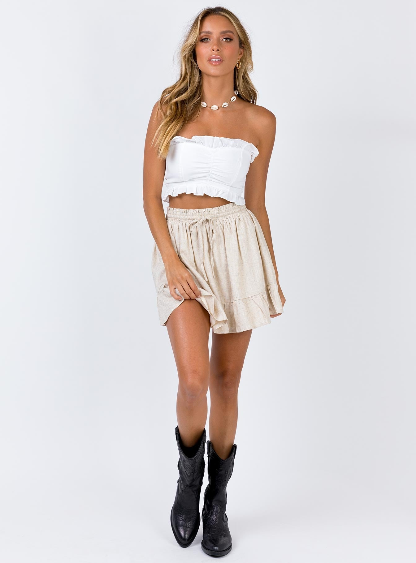 Bad Dreams Mini Skirt Beige
