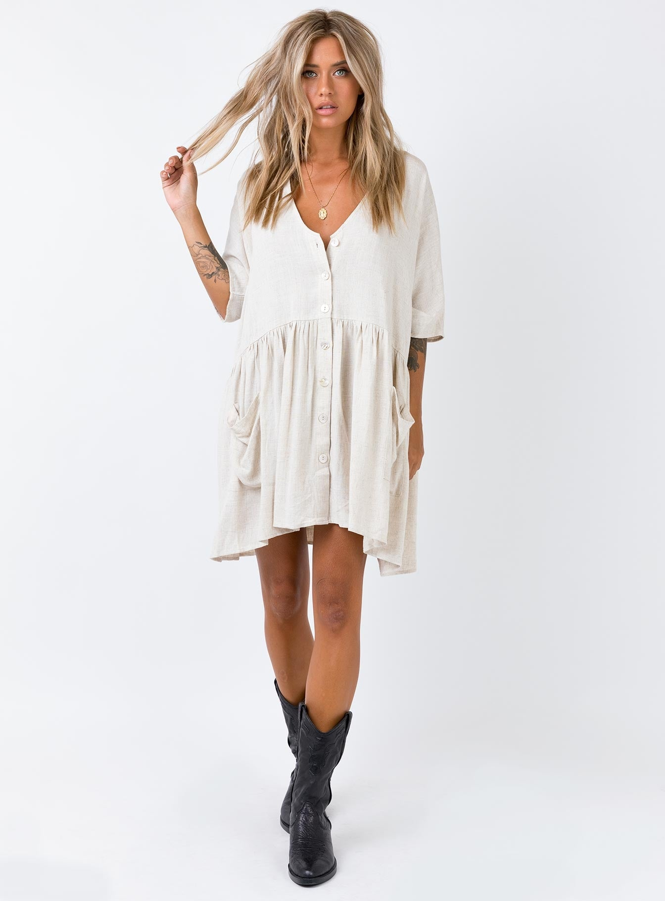 The Sandy Mini Dress Natural