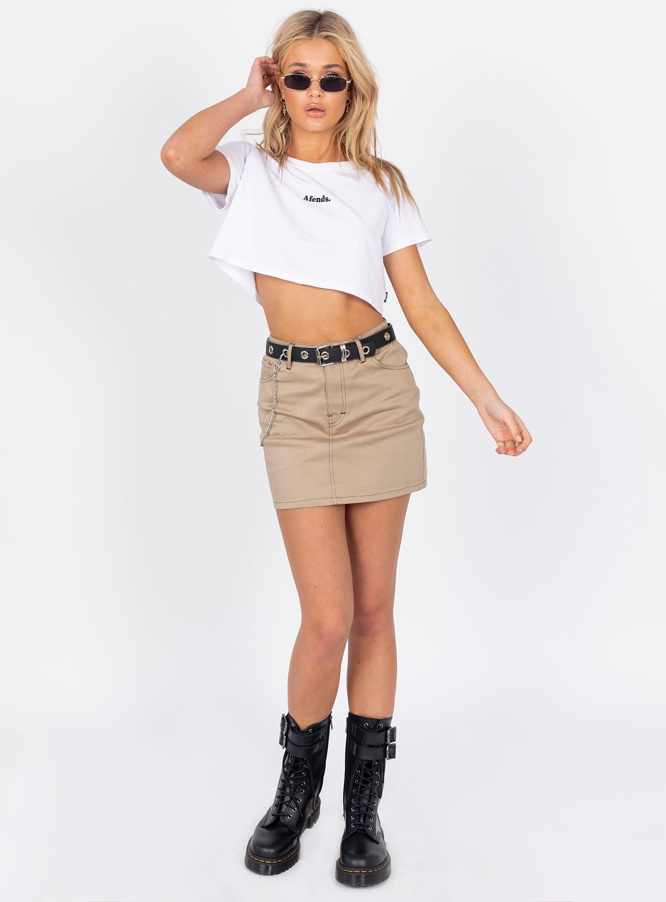 Motel Mini Broomy Skirt Tan