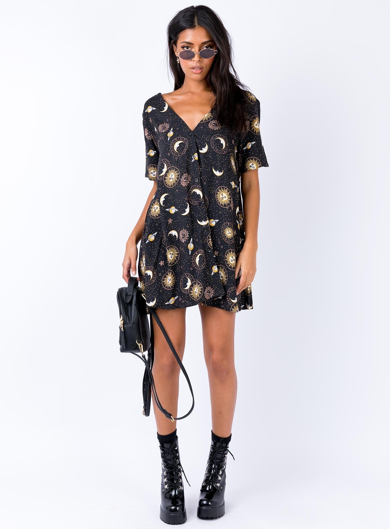 Motel Crosena Dress Solar System Black Multi