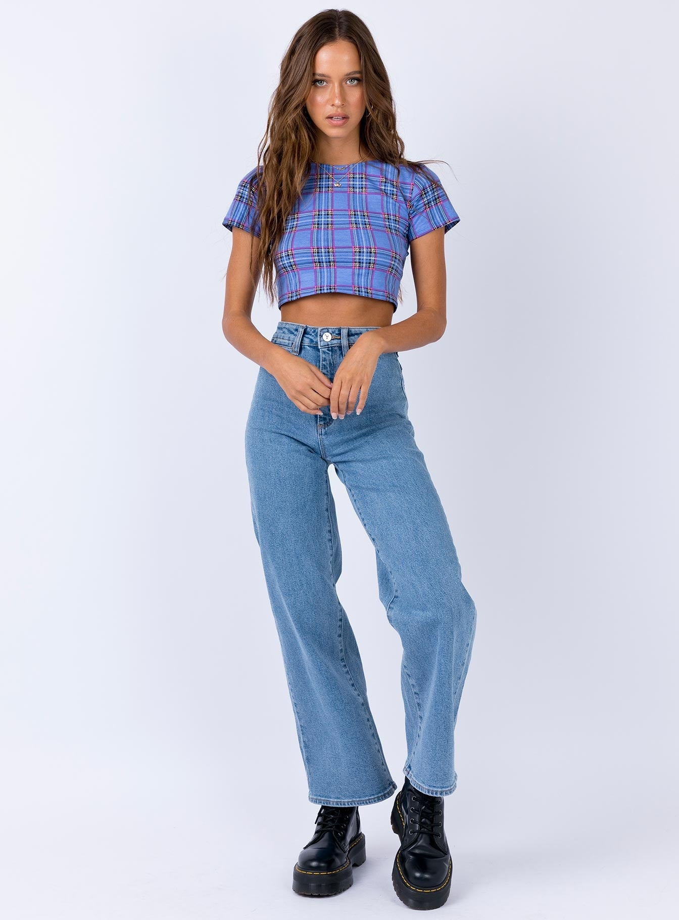 Motel Tindy Crop Top 90's Check Blue Pink