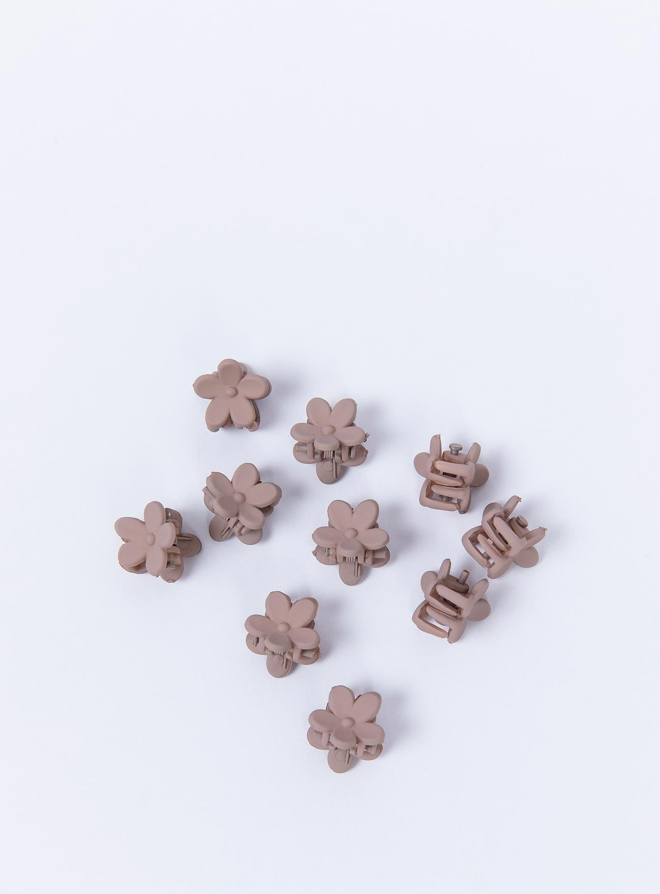 Flower Power 10 Pack Hair Clip Taupe