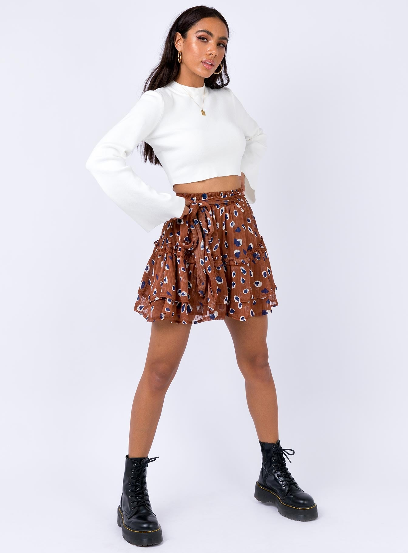Worton Mini Skirt Brown