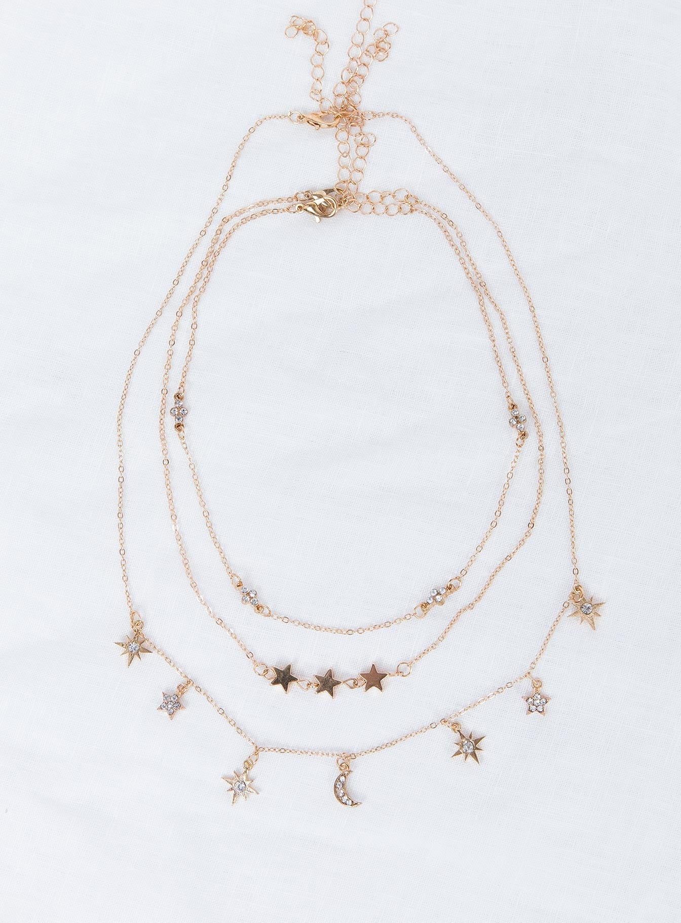 Star Love Layered Necklace Gold