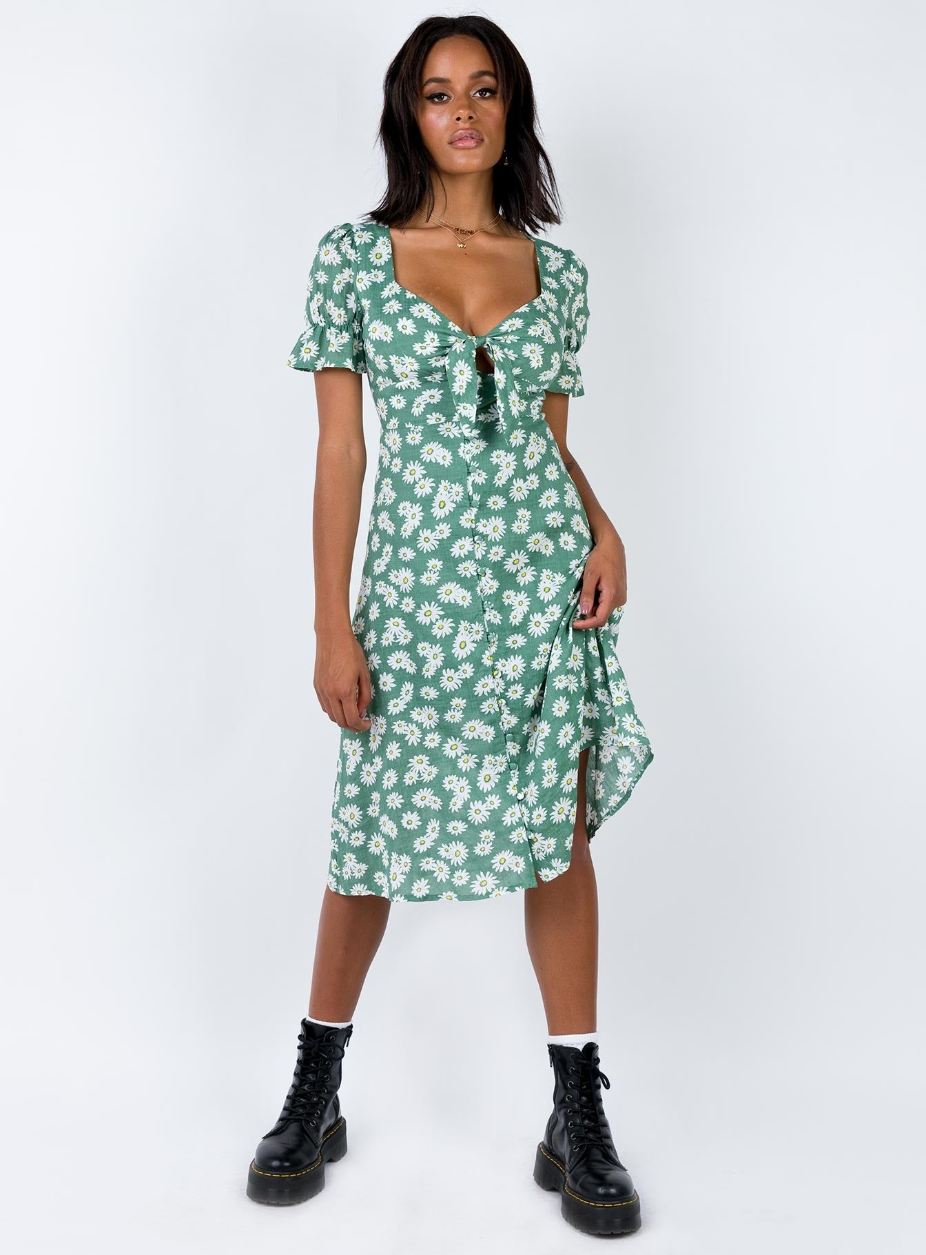 Lowell Midi Dress Green Print