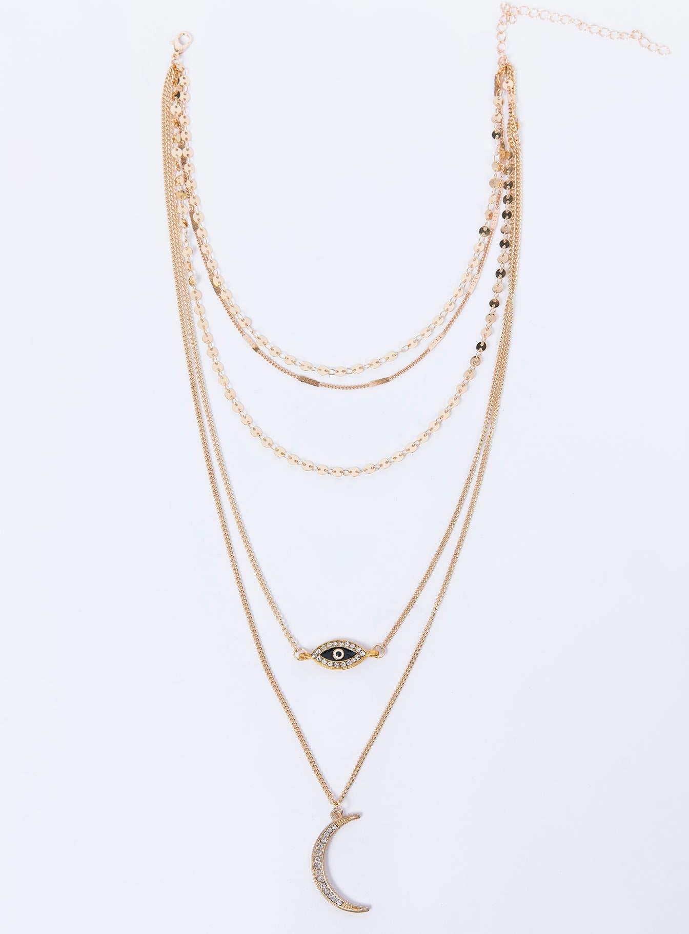 Evil Eye Layered Necklace Gold