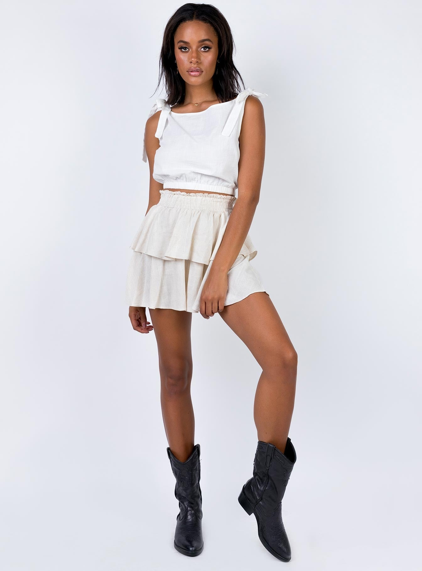 Greta Mini Skirt Beige