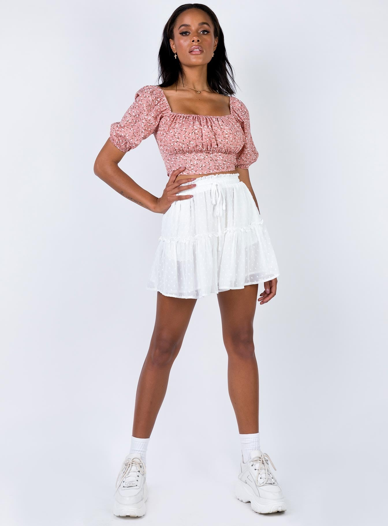 Evandale Mini Skirt White