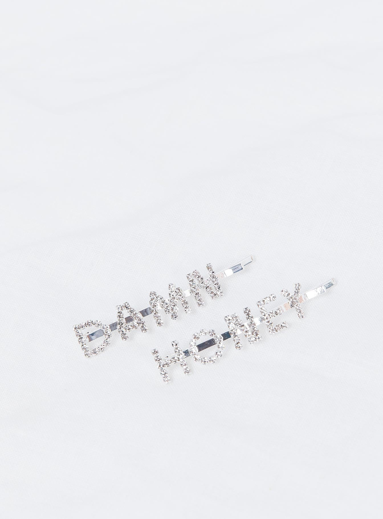 Damn Honey Diamante Hair Clip Set Silver