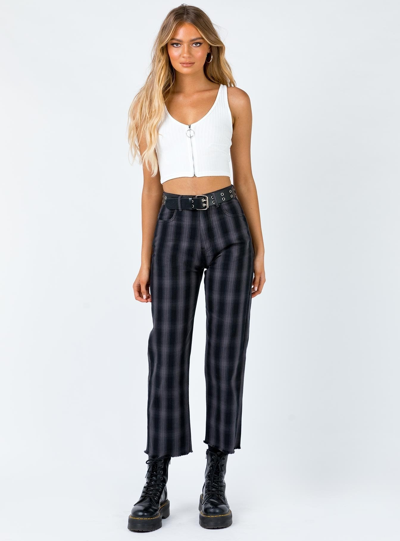 Afends Shelby High Waist Jeans Black Check