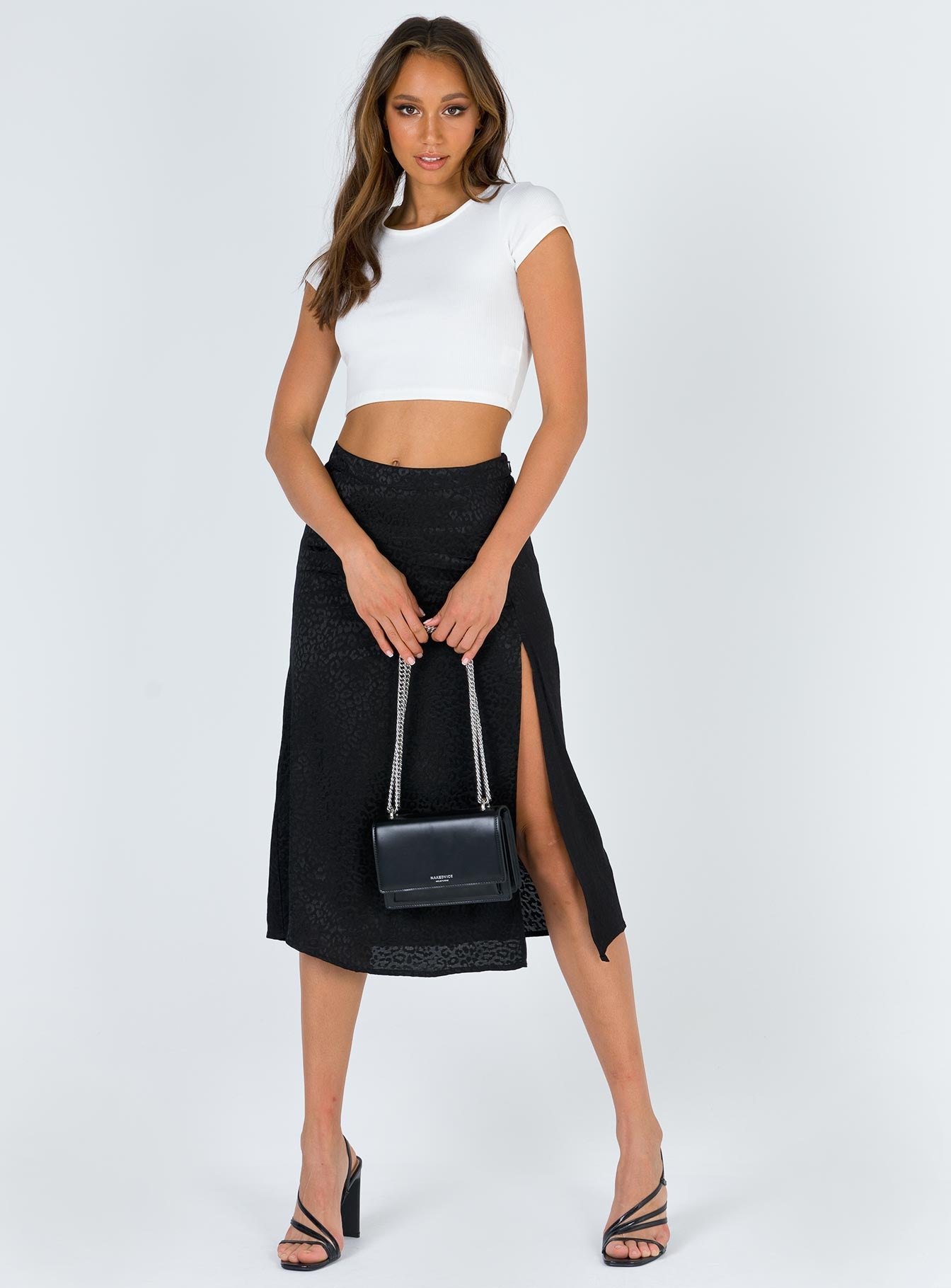 Motel Saika Skirt Satin Cheetah Black