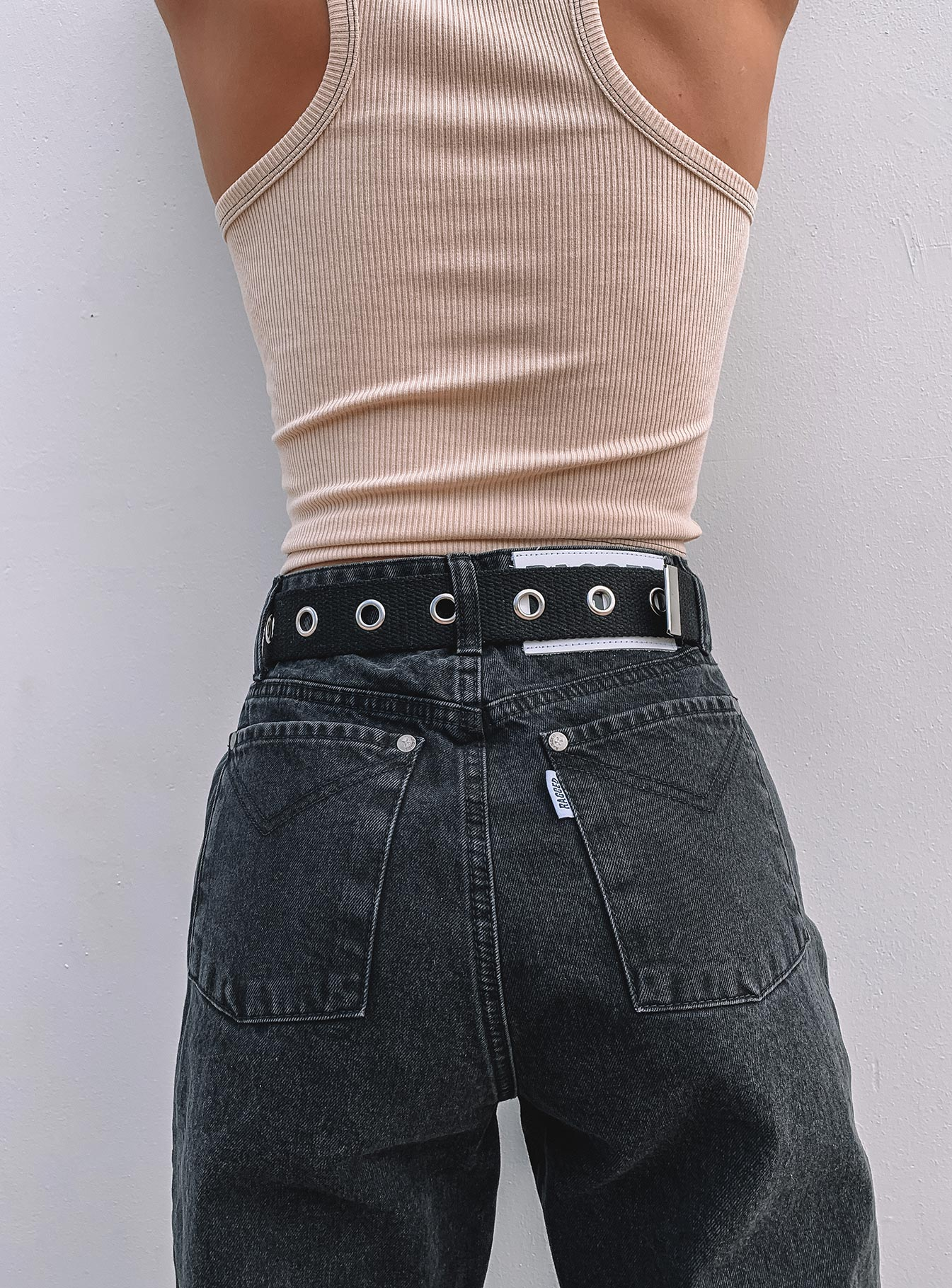 The Squad Canvas Eyelet Belt Black