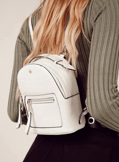 Peta & Jain Zoe Backpack White Croc & Silver