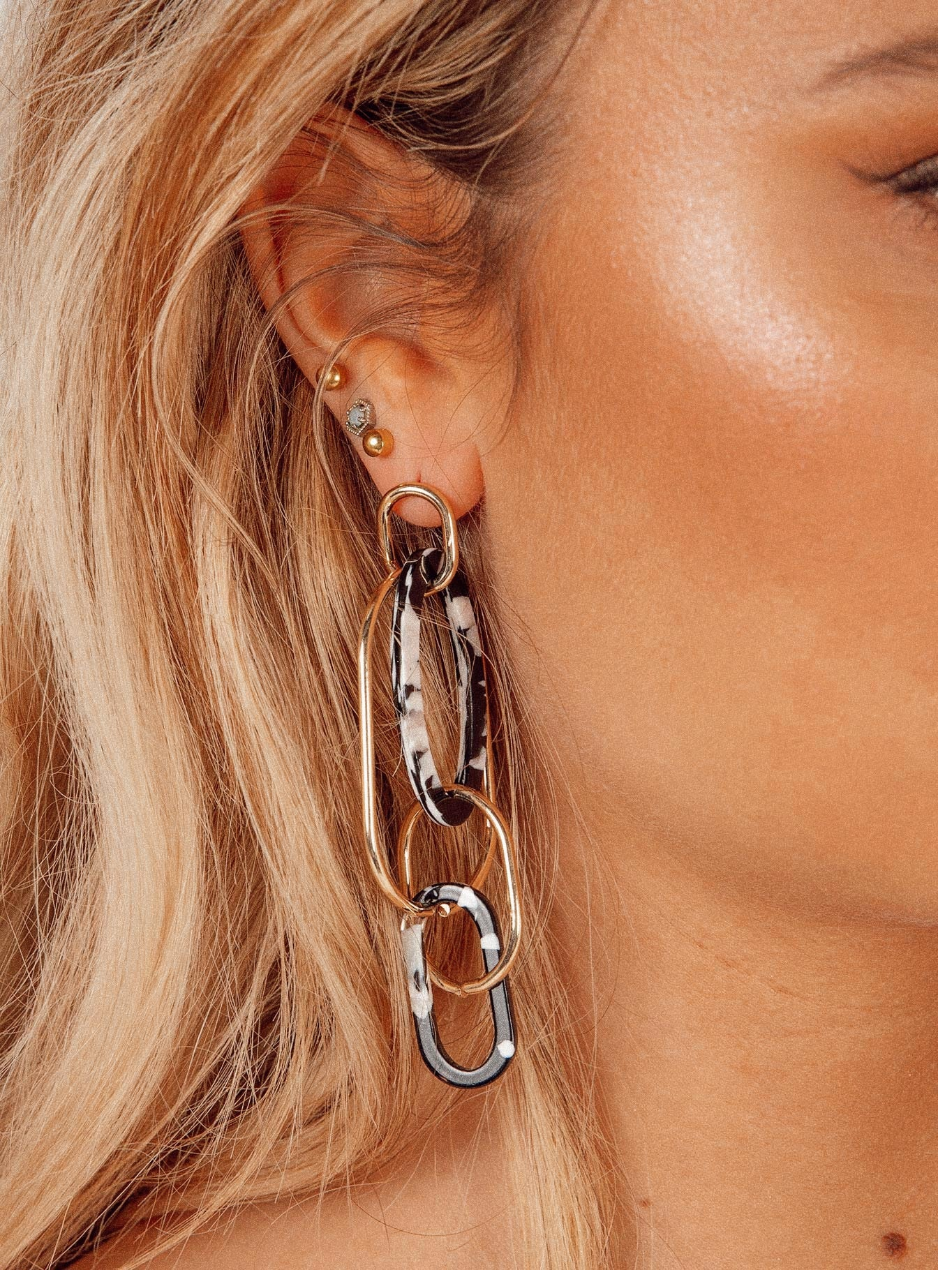 Aixa Gold & Tort Linked Hoops
