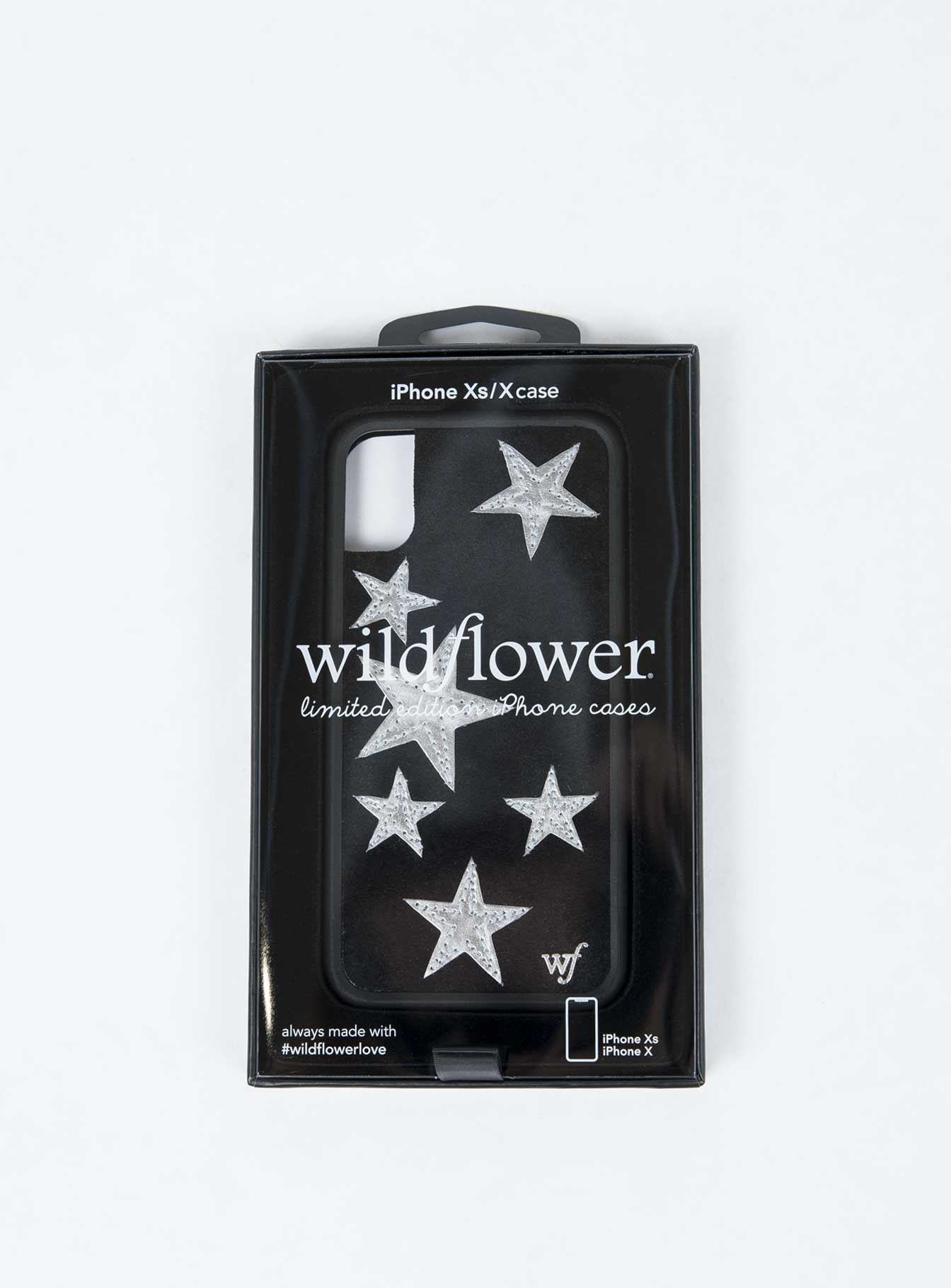 Wildflower Black Velvet Silver Stars iPhone Case X/XS